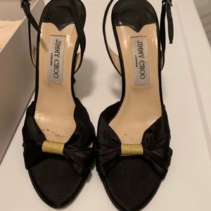Choo Black Satin and gold heels